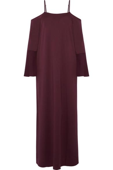 Skin - Cold-shoulder Gauze-trimmed Pima Cotton-jersey Nightdress - Grape
