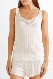 Lace-trimmed Pima cotton pajama set