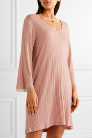 Lace-trimmed ribbed Pima cotton nightdress