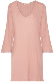 Skin Lace-trimmed ribbed Pima cotton nightdress