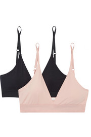 Skin Hadlee set of two stretch organic Pima cotton-jersey soft-cup bras