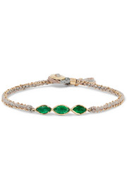 Brooke Gregson 18-karat gold, emerald and silk bracelet