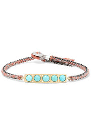 Brooke Gregson 14-karat gold, sterling silver and turquoise bracelet