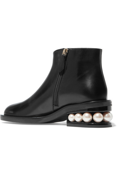 Nicholas Kirkwood Casati Ankle Boots aus Leder mit Kunstperlenverzierung