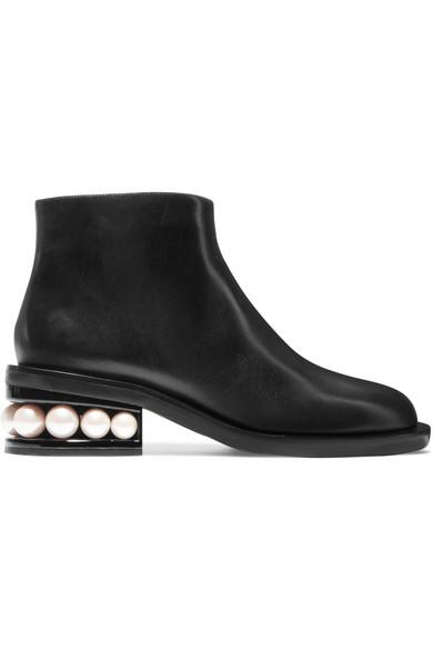 NICHOLAS KIRKWOOD 'Casati' Faux Pearl Heel Leather Ankle Boots in Black