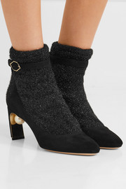Nicholas Kirkwood Lola embellished suede and metallic-knit ankle boots