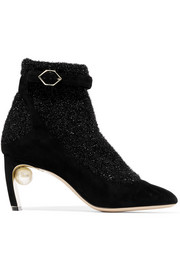 Lola embellished suede and metallic-knit ankle boots