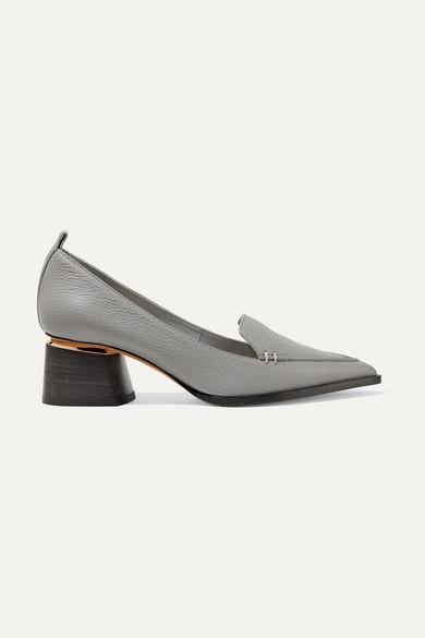 Beya Grained-Leather Block-Heel Pumps in Grey
