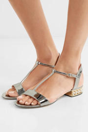 Nicholas Kirkwood Casati embellished metallic patent-leather sandals