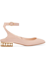 Lola embellished patent-leather ballet flats