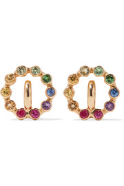 Rainbow Saturn XS 18-karat gold multi-stone earrings