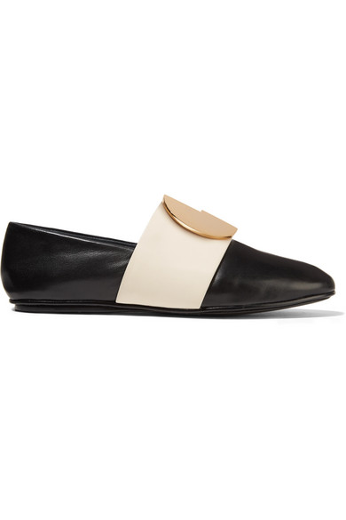 Mercedes Castillo - Caia Embellished Two-tone Leather Loafers - Black