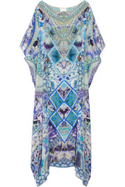 Chinese Whispers embellished printed silk-georgette kaftan