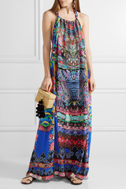 Chinese Whispers embellished printed silk-georgette maxi dress