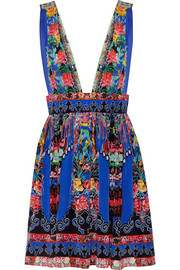 Chinese Whispers embellished printed silk crepe de chine mini dress