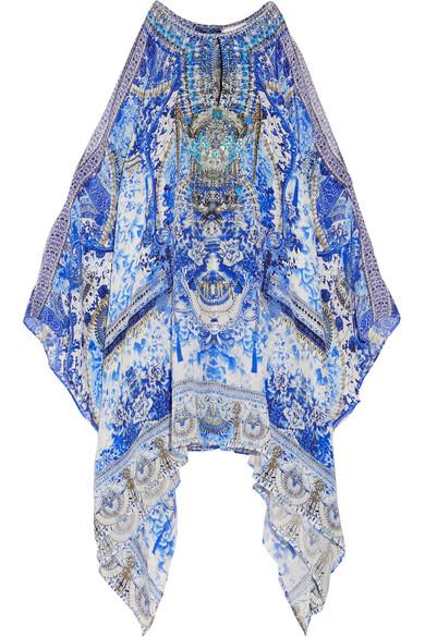 camilla female camilla chinese whispers embellished printed silk crepe de chine kaftan blue