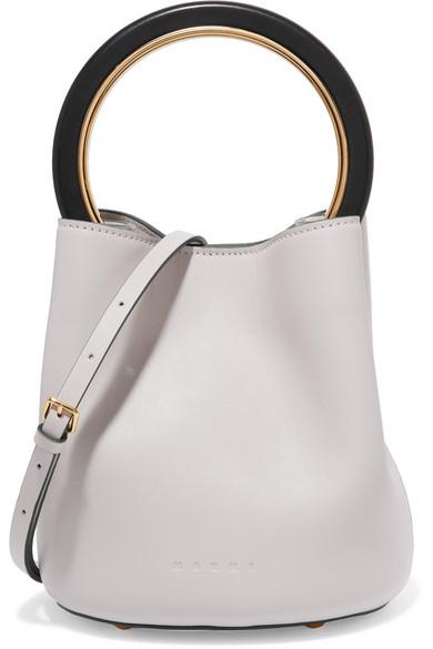 Marni - Pannier Leather Mini Bucket Bag - White