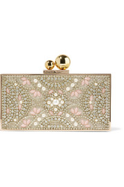 Clara embellished gold-tone box clutch