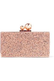 Clara crystal-embellished metal clutch