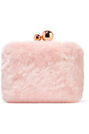 Vivi leather-trimmed faux fur clutch