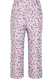 Nettle cropped floral-jacquard flared pants