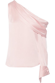 Monse One-shoulder draped satin blouse