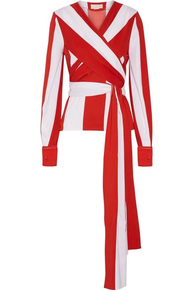 Monse - Wrap-effect Striped Stretch-silk Top - Red
