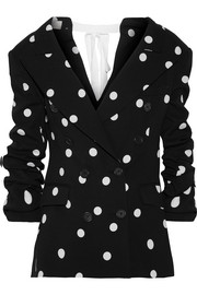 Monse Ruched polka-dot silk-blend crepe blazer