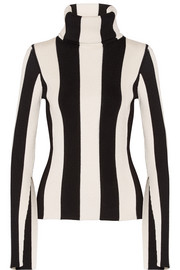 Monse Striped ribbed stretch-knit turtleneck sweater