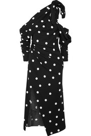 Monse Cold-shoulder polka-dot silk-blend crepe midi dress