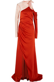 Monse Cold-shoulder two-tone satin gown
