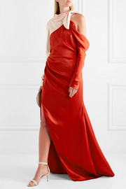 Cold-shoulder two-tone satin gown