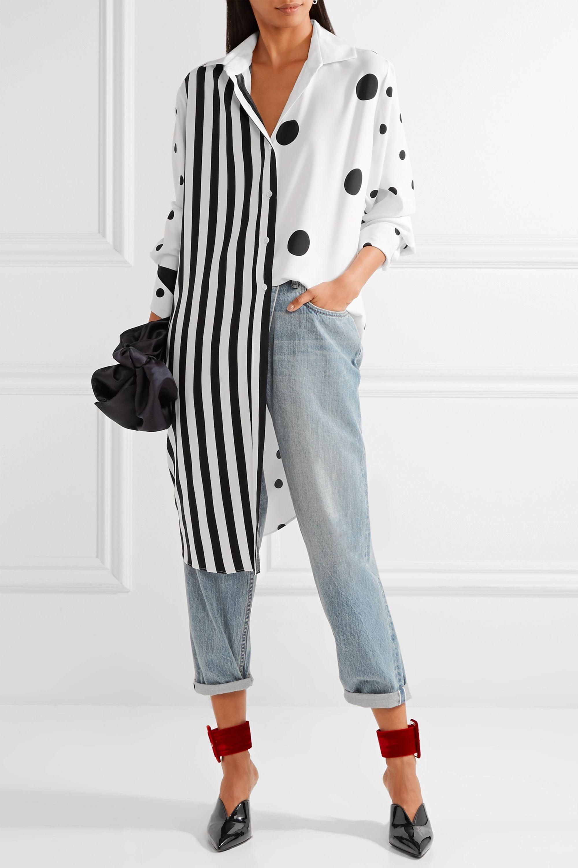 Monse Oversized printed silk-blend satin shirt