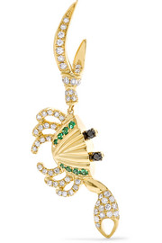 18-karat gold, diamond and tsavorite earring