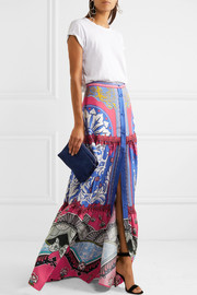 Mary Katrantzou Kings Fuxia printed silk-twill maxi skirt
