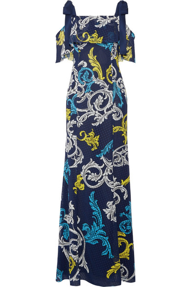 Mary Katrantzou - Canasta Cold-shoulder Printed Swiss-dot Chiffon Gown - Navy