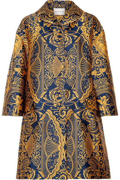 Mary Katrantzou - Spence Oversized Jacquard Coat - Mustard