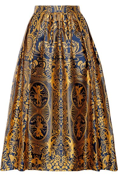 Mary Katrantzou - Bowles Pleated Jacquard Midi Skirt - Saffron