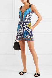 Mary Katrantzou Grosgrain-trimmed printed crepe playsuit