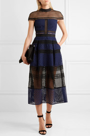 Paneled guipure lace dress