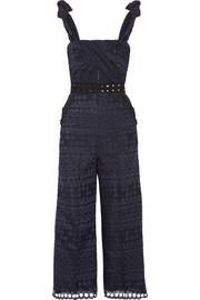 Cutout guipure lace-trimmed broderie anglaise jumpsuit