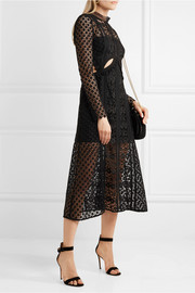 Cutout guipure lace midi dress