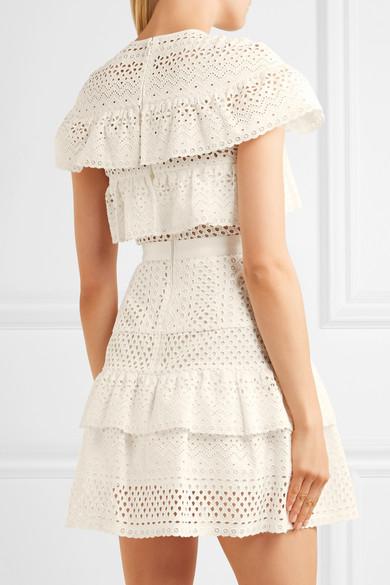 db47562b5d803c Self-Portrait. Ruffled broderie anglaise mini dress.  237.50. Play