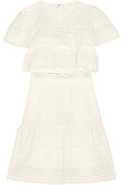 Self-Portrait Ruffled broderie anglaise mini dress