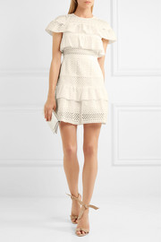 Ruffled broderie anglaise mini dress