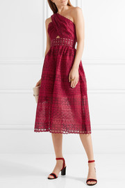 Self-Portrait One-shoulder cutout cotton-blend guipure lace midi dress
