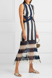 Striped crochet-knit midi dress