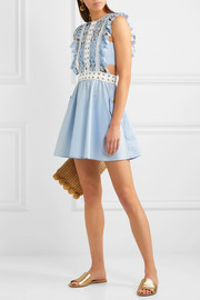 Guipure lace and poplin mini dress
