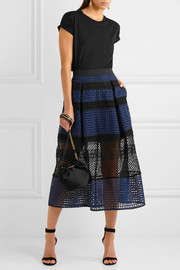 Paneled guipure lace midi skirt