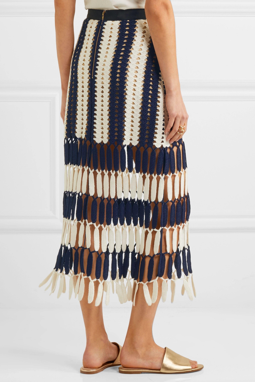 Self-Portrait Striped crochet-knit midi skirt